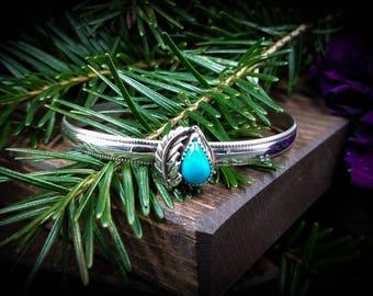 Kingman Turquoise Leaf Cuff Bracelet / Turquoise Cuff / Southwest Cuff / Turquoise Bracelet / Stacking Cuff / Handmade / OOAK
