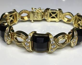 "Estate Italian Designer 18K Yellow Gold 1.2 CTW Diamond & Onyx 7"" Bracelet 54 Grams"
