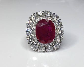 Reserved - Estate GIA Certified 10.55 CTW Ruby & Diamond Cocktail Platinum Engagement Ring