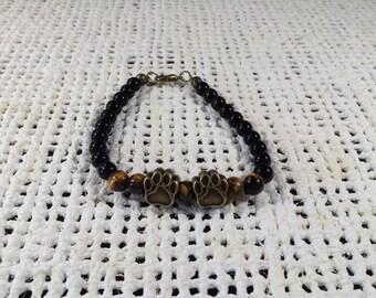 Dog paw tiger eye bracelet