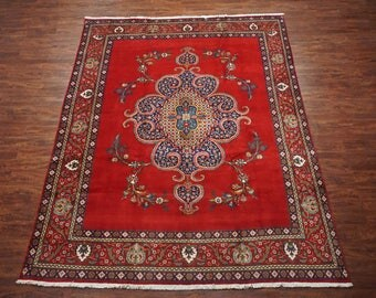 Antique 10X12 Persian Tabriz Area Rug - 1940's Hand-Knotted Wool Carpet (9.7 x 12.6)