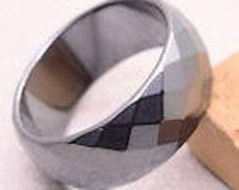 Hematite Faceted Ring US Size 12