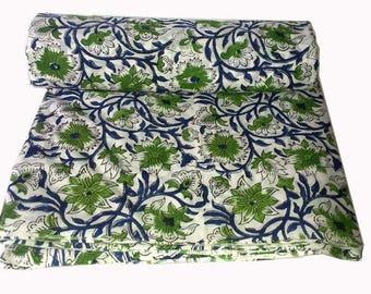 10 yard Indian Hand Block Beautiful Printed 10Yards Fabric Dressmaking Running Cotton