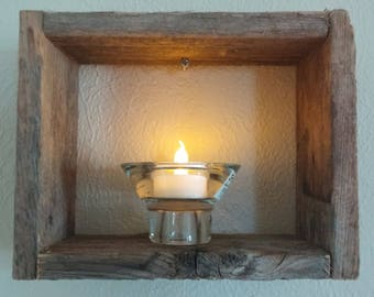 Reclaimed Cedar Shadow Box with Votive Candle in Heavy Glass Holder, Wall Decor, Rustic Shadow Box, Wood Shadow Box