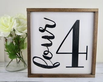 Four Framed  Wood Sign | Rustic | Farmhouse| Family | Count | Number | 13x13