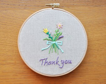 """6"""" Embroidery hoop art decoration- Thank you flowers- designed by KC- hand-stitching"""
