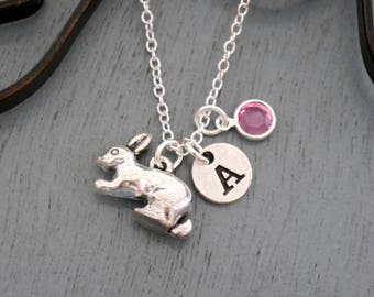 Rabbit Necklace, Personalized Rabbit Necklace, Bunny Necklace, Initial Necklace, Bunny Jewelry, Bunny Gifts, Personalized Bunny Necklace