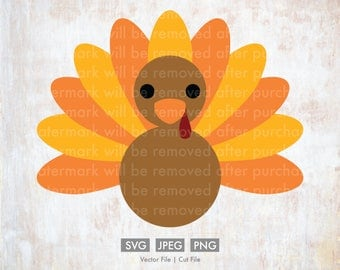 Turkey for Thanksgiving  - Cut File/Vector, Silhouette, Cricut, SVG, PNG, JPEG, Clip Art, Download, Fall, Thanksgiving, Food, Eat, Gobble