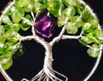 Sale! Аmethyst/Peridot Tree of Life Pendant Necklace with Artistic Wire Silver  Plated. Tarnish Resistant Silver. natural Peridot/Аmethyst