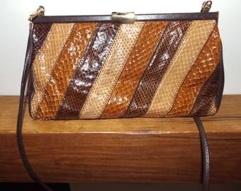 Jane Shilton vintage 1970s snakeskin and leather handbag with shoulder strap
