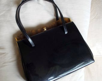 Vintage Harmony black patent handbag with tortoiseshell effect Lucite top