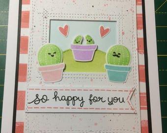 New babies, twins, handmade cactus card