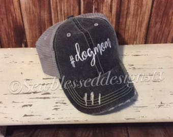 Trucker Hats * Dog Mom Hat* Dogs* Family pets* Distressed trucker hat* Fur Babies