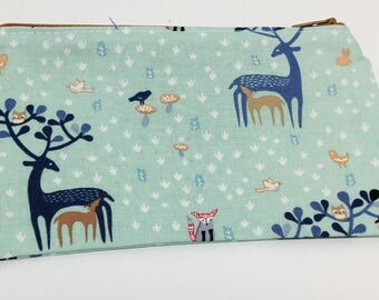 Fauns in the Forest Deer Print Novelty Zipper Pouch - makeup bag; pencil case; gift for her; cosmetic bag; carry all; gadget case; birthday;
