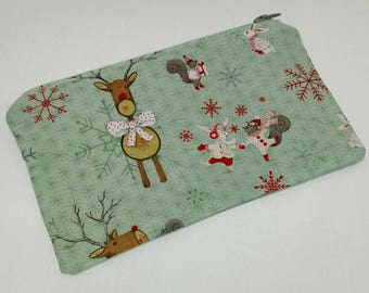 Reindeer & Forest Friends Christmas Zipper Pouch makeup bag; pencil case; gift for her; cosmetic bag; carry all; gadget case; birthday