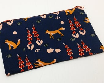 Forest Foxes on Navy Novelty Zipper Pouch - makeup bag; pencil case; gift for her; cosmetic bag; carry all; gadget case; birthday