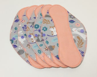 """Salmon on Forest Critters Reusable Pantyliner with Wings (9.5"""") - menstrual pad; panty liner; cloth pads; cotton; washable liner; flannel"""