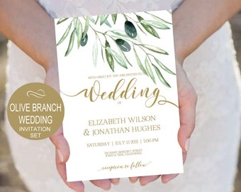 Olives Branch Wedding Invitation Template - Gold Rustic Watercolor -DIY Printable Wedding Invitation-PDF-Instant Download | VRD135WDG