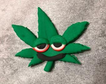 Cute Weed Leaf Cupcake Topper