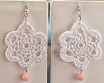 White earrings, crocheted with opals. Hand made French craft