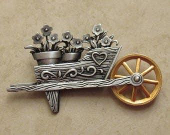 JJ Wheelbarrow Pin - J Jonette Wheelbarrow Brooch - Vintage Wheelbarrow Pin