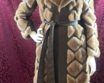 S/M Vintage Mink & Leather Fur Coat