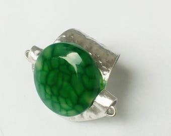 Ring with aluminum , stone, decorations, handmade, unique ...