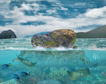 Ocean reef digital background