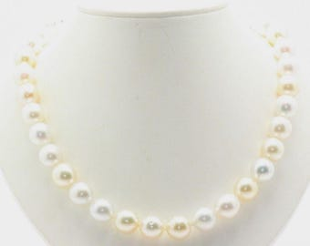 South Sea Pearl Necklace Strand 12mm - 12.5mm White Cream Colors 14K Gold Clasp