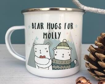Christmas Hugs Enamel Mug - Christmas Hot Chocolate Mug - Personalised Kids Mug - Christmas Eve Mug - Stocking Filler