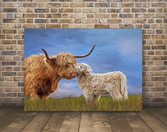 Highland Cow Print,Highland Cow,Highland Cow Art,Highland Cattle,Highland Calf,Cow Gift,Highland Cow Canvas-Sells UK/USA and Australia
