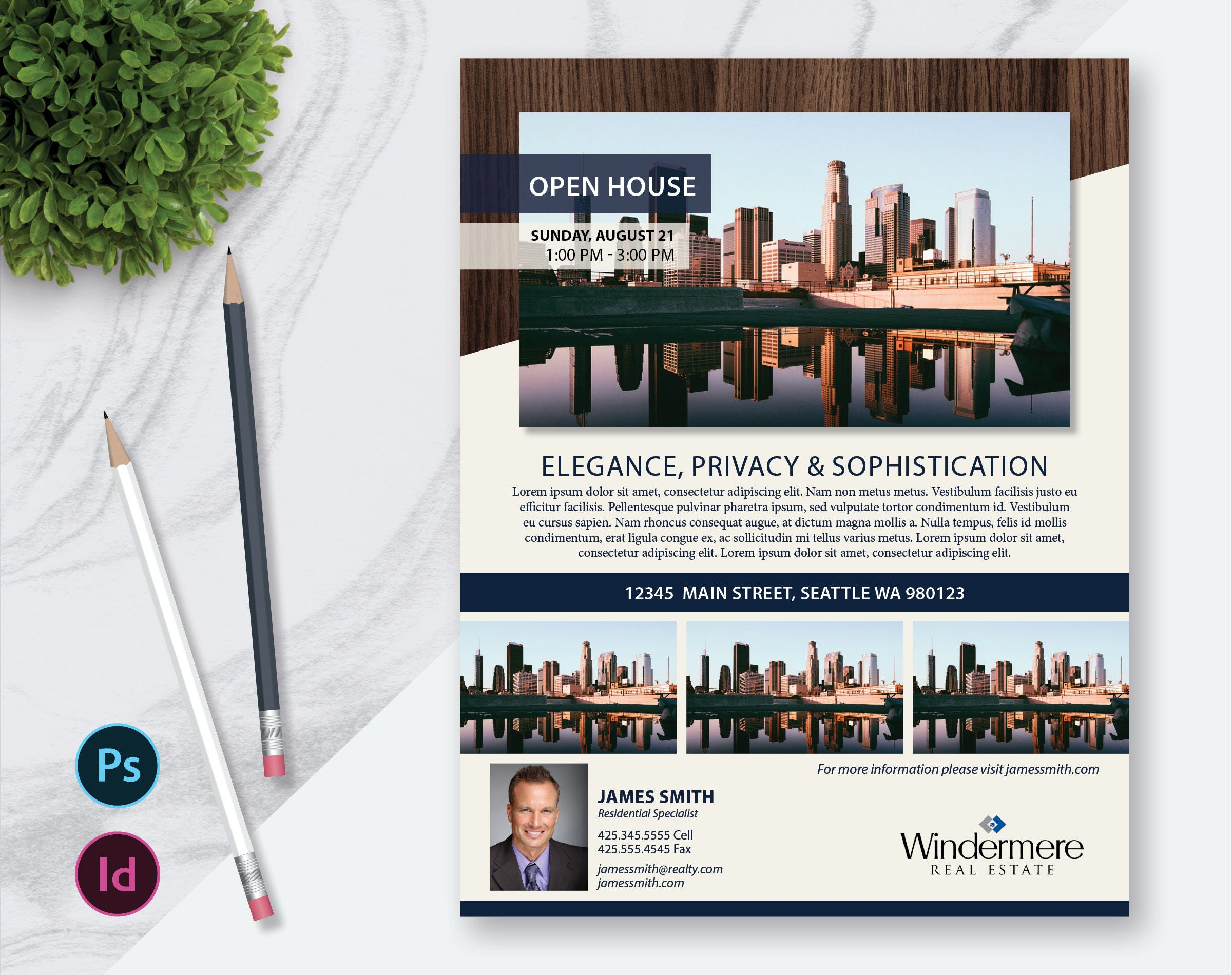 Real Estate Flyer Template Photos Single Sided InDesign - Photoshop real estate flyer templates