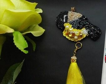 Brooch-tit bird jewelry handmade, Brooch-pendant. Brooch-transformer. Handmade brooch, embroidery Brooch Beaded. Pin. Gift for her
