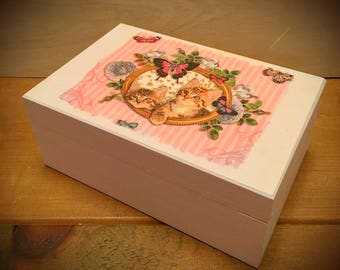 Pretty Kittens Wooden Trinket / Memory Box