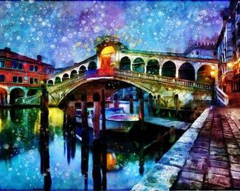 Venice Italy Watercolor Fine Art Print, Poster, Wall Art, Home Decor, Kids Wall Art, Play Room Wall Art, Office Wall Decor