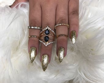 Gold Press on Nails
