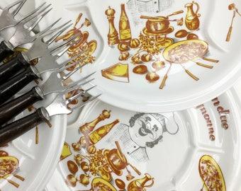 6 Fondue plates and 6 forks – French fondue plates – Vintage fondue – fondue bourguignonne – 70s retro – French kitchen