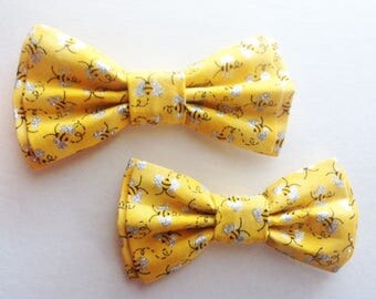 Mens Bow Tie, Dad and Son Bow Ties, Yellow Bow Tie, Father Son Bow Ties, Groomsmen Bow Tie, Bees Bow Tie, Boys Bow Tie  DS726
