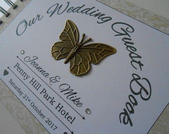 Personalised Vintage Bronze BUTTERFLY WEDDING Guest Book Photo Album Scrapbook Ivory Cream Gold