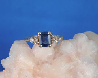 1.10 ct. Emerald Cut Blue Ceylon Sapphire and Diamond Ring 14k Solid Yellow Gold