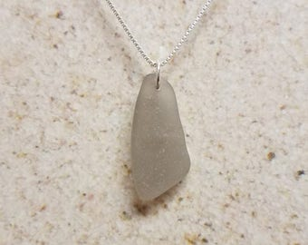 Frosty Gray Sea Glass Necklace