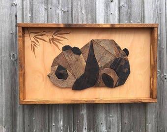 Wooden Wall Art / Box Frame / Panda Design / Panda Bear / Bamboo / Chinese Style / Very Retro / Japanese Style / Home Décor /