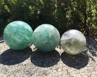 Multiple Size Natural Fluorite Crystal Balls