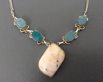 Sterling Silver  & Stone Necklace / 925 / Handmade / Pendant /