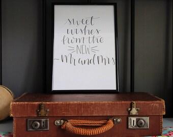 Handlettered Sweet Wishes Sign- unframed