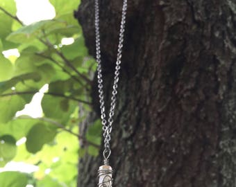 Crystal quartz gun metal wire wrap