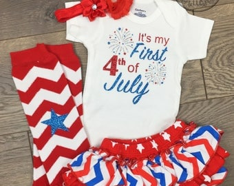 My First 4th of July outfit Baby girl fourth set 1st patriotic Fireworks Newborn onesie Pictures Stars Red White and Blue Independence Free