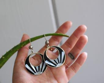 Sunrise Earings/ silver and alabone