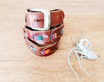 Vintage Leather Southwestern Belt / Brown Leather Belt / Size Medium/Large