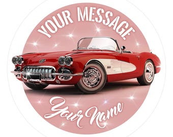 Chevrolet Corvette Personalised Edible Icing Birthday Party Cake Topper 7.6""